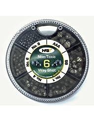 Plomb non toxique de très grande qualité permettant de déplacer les plombs sans endommager la ligne. Disponible aussi bien en boites assorties Taille 4/AB/1/6/AAA/BB/SSG