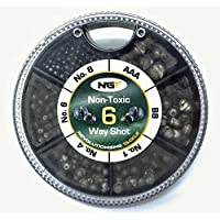 NGT 6 Way Dispenser - Non Toxic Fishing Split Shot -  AAA, BB, 1,4,6,8