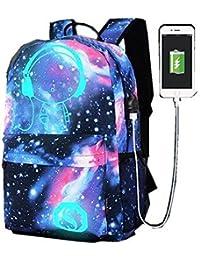 WYCY Mochila portátil Mochilas de negocios con puerto de carga USB Schoolbag Bookbag Mochila Luminosa se ajusta a un portátil de 15,6 pulgadas