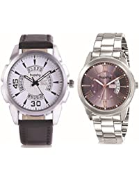 Hupshy® Analog Round Dial Men's Watch / Trendy Men's Watches / Watches For Men (Pack Of 2) Combo - CMB1452