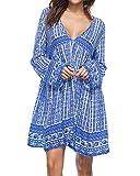 Kidsform Damen Casual Kleid Langes Shirt Lose Tunika V-Ausschnitt Langarm Vintage Retro Minikleid Blau S=EU36