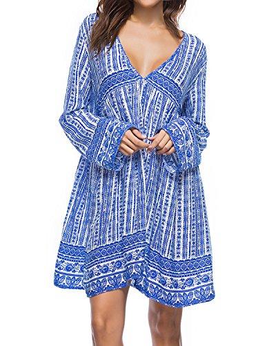 Kidsform Damen Casual Kleid Langes Shirt Lose Tunika V-Ausschnitt Langarm Vintage Retro Minikleid Blau L=EU40-42