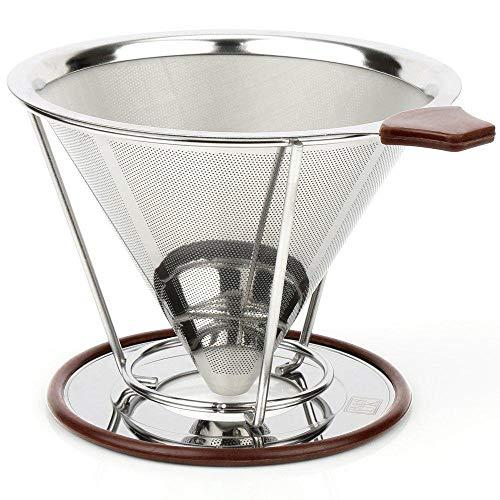 Eco-friendly Kaffee (Gießen Sie über Kaffee-Dripper, mit Ständer, Edelstahl Kaffee filter abnehmbare Tropf, wiederverwendbare Kegel-Tropfen, papierlos eco-friendly, arbeitet mit Karafe)
