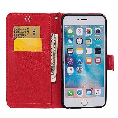 """Rabat Style iPhone 6S Plus Coque Cuir Portefeuille iPhone 6 Plus Case, Les amants et le pissenlit Embossage Motif Belle Mode Housse de Protection pour Apple iPhone 6 Plus 6S Plus 5.5"""" - Bleu Rouge"""