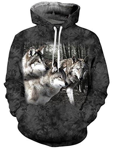 uideazone Hipster Stil Grafik Wölfe Hoodie Sweatshirts Pullover für Männer Plus Größe