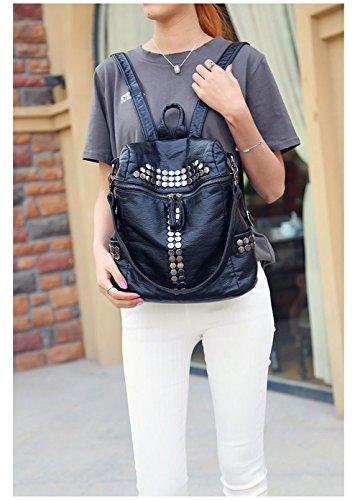 Honeymall Damen Mode aus Weichem Leder Rucksack Schulterbeutel Niet Vintage Satchel Daypack(Schwarz) - 7