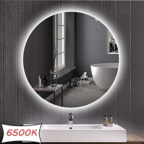DELM Espejo retroiluminado LED Espejo de baño/Dormitorio/tocador con iluminación Espejo de Pared Redondo...