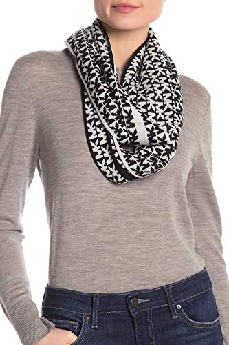 Michael Kors Schal schwarz-weiß, schwarz abgesetzt, 160x25cm, weiches Acryl, Damenschal, 537170C