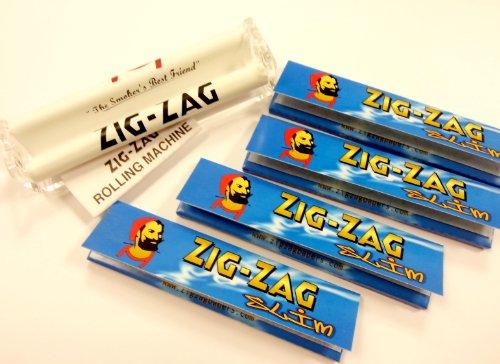 Unbekannt Zig Zig King-Size-Drehmaschine und 4 Packungen (128) Zig Zag Slim Zigarettenpapier, Hanf & Flachs (Skunk Skins)