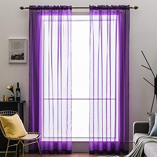 MIULEE 2er Set Voile Vorhang Transparente Gardine aus Voile Polyester Schlaufenschal Transparent Wohnzimmer Luftig Dekoschal für Schlafzimmer Helles Lila 55' Wx88 L, Rod Pocket
