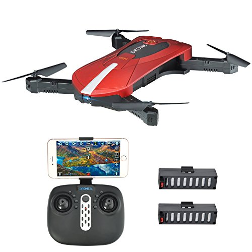JD-018 Selfie Folding RC Drone with Wifi Transmission Camera FPV APP Hover Control Cabinet Vacuum G-Sensor 3D Flip No Head Quadrocopter for Pilots All Levels, Warranty, 2 Batteries, Remote Control, Red / Black