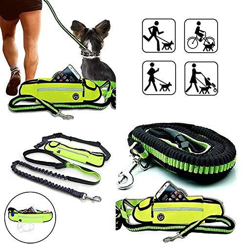 JogDog Komfort Set: 3-in-1 elastische Hunde-Leine mit Bauch-Tasche,Freihand,Sicherheit Wasserdicht Jogging Gürtel Reflektor & Musik Ausgang Freihändig Laufen Hüft-Beutel -
