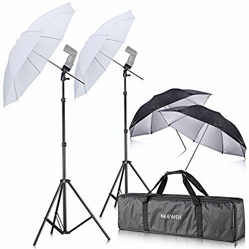Neewer® - doppio kit di supporto con montaggio su slitta per speedlight flash, girevole, con ombrello morbido, per canon 580ex ii, 580ex ii, 600ex-rt, nikon sb600, sb800,sb900, youngnuo yn 560, yn 565, neewer tt560, tt680, tt850, tt860