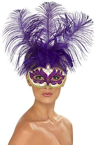Smiffys Damen Beauty Augenmaske mit Federn, One Size, Lila, 40020 (Lila Feder Maske Mit Pailletten)
