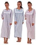 Bay eCom UK Women Nightwear Floral Print 100% Cotton Long Sleeve Long Nightdress M to XXXL