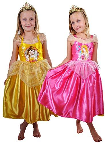 Halloween Kostüm Belle Kleinkind (erdbeerloft- Mädchen Karneval Kostüm- Disney Doppel Wendekostüm Aurora zu Belle Prinzessin Märchen, orange und pink, 7-8)