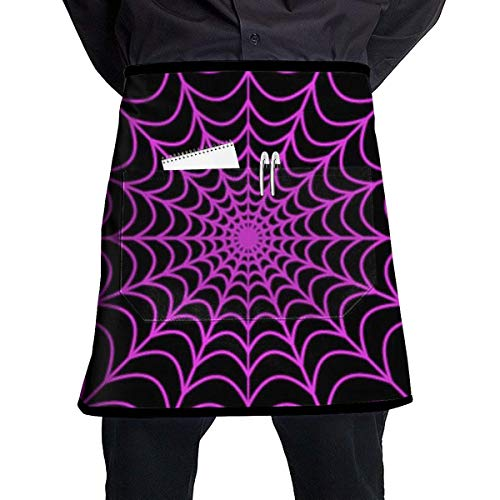 QIAOJIE Apron with Pocket Men and Women Kitchen Apron for Cooking/Baking/Crafting/Gardening & BBQ - Halloween Spider Web
