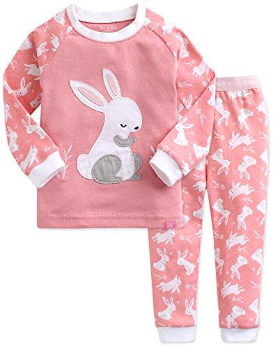 Kinder Maedchen Schlafanzug Cotton Sleepwear Pajama 2pcs Set Heeling Rabbit S