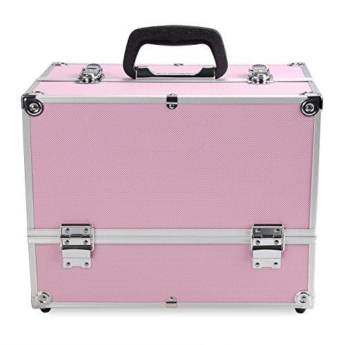 Oliote Kosmetikkoffer Beauty Case Schmuckfach Schminkkoffer Multikoffer Koffer, Metall, 35.5 x 21.5 x 28cm, Pink