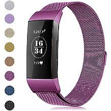 Gogoings Para Fitbit Charge 3 Correa Original - Pulsera de Reemplazo Ajustable Acero Inoxidable Banda Compatible