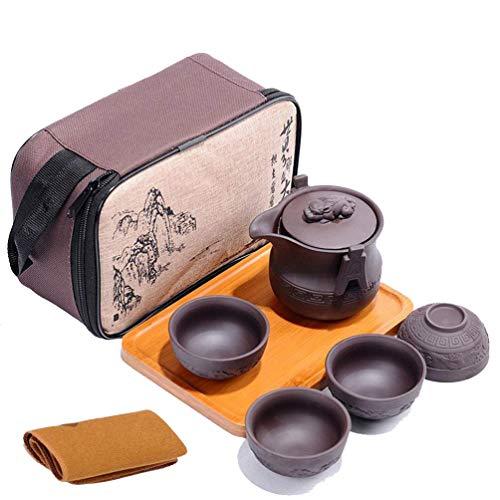 Tragbare Reise Kungfu Zisha Tee Set, handgefertigte lila Ton Teekanne & 4 Teetassen, traditionelle Chinesisch (Tierstil) (Chinesische Gongfu Tee-set)