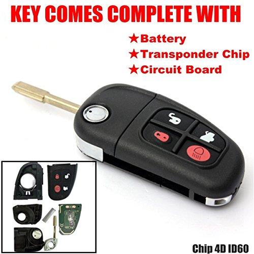 KaTur 1 PC 4 Boutons 433 MHz télécommande clé de Voiture Shell Flip Pliant Lame Non coupée Touche de Auto Coque de Remplacement avec 4d60 Puce pour Jaguar