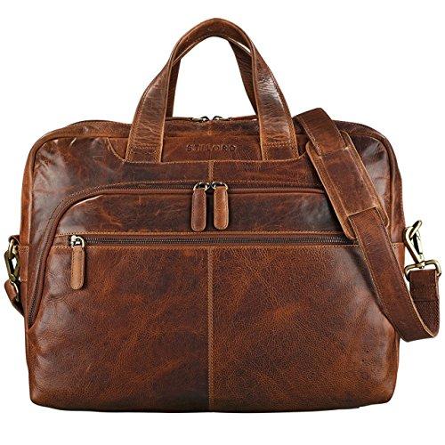 STILORD \'Lias\' Umhängetasche Leder Herren Vintage 15,6 Zoll Businesstasche Laptoptasche groß Arbeit Büro Uni Antik Leder, Farbe:Kara - Cognac