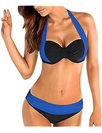OVERDOSE Frauen Push Up Bikini Sets gepolsterter BH Bandeau Damen Low Waist Bikini Bademode Badeanzug Plus Größe
