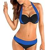 OVERDOSE Frauen Push Up Bikini Sets gepolsterter BH Bandeau Damen Low Waist Bikini Bademode Badeanzug Plus Größe(Blau,L