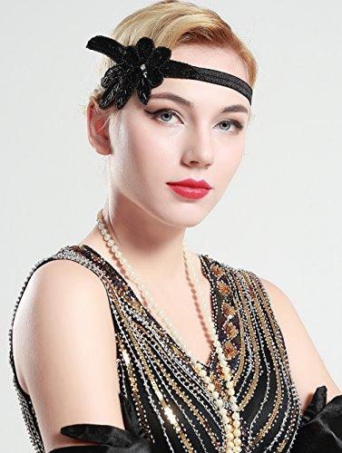 BABEYOND 1920s Stirnband Damen 20er Jahre Stil Haarband Gatsby Kostüm Accessoires (Schwarz) - 4