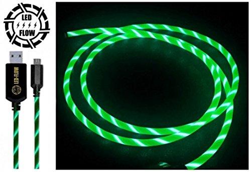 NEU 2017 GRÜN LED-FLOW USB KABEL BELEUCHTETES AUFLADUNG KABEL LED TELEFON CHARGING KABEL MICRO USB FLOWING KABEL
