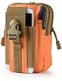 Orange : Outdoor Military Tactical Belt Waist Bags Waterproof Mobile Phone Wallet Travel Sport Waist Pack Camping...