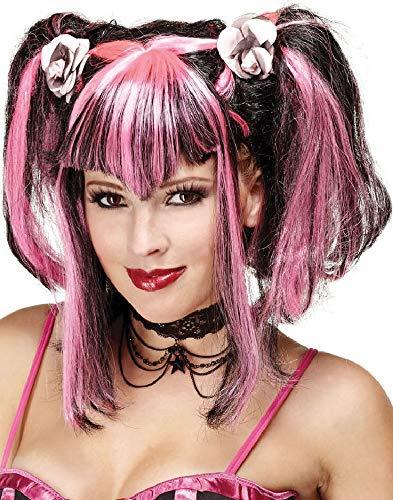 Damen Perücke, Schwarz/Pink, Halloween-Pigtails, Fransen