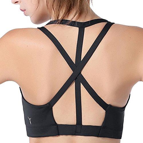 AIYIHAN Soutien Gorge de Sport Femme Sans Armatures avec Bretelles Fines Noir-1