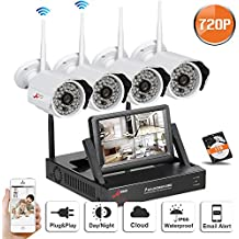 """Sistema de CCTV inalámbrico de Swinway para la cámara de seguridad al aire libre casera con la cámara al aire libre sin hilos del CCTV del IP 720P HD con la ayuda de la visión nocturna de 48 LED Smartphone con el monitor de 7 """"y la impulsión dura 1TB"""