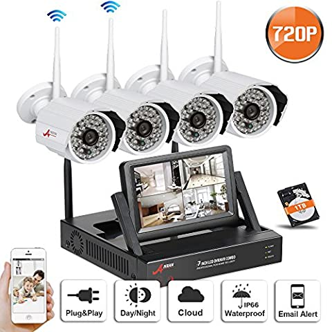 Swinway 720P Wireless Security Camera System WIFI NVR with 4 Wireless Outdoor 720P HD IP CCTV Camera with 48 LEDs Night Vision Support Smartphone Remote view WIFI NVR with 7