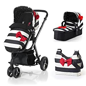 Cosatto Giggle 3-in-1 Travel System Giggle Car Seat Compatible Special Edition 2013 Range, Go Lightly - Black/White