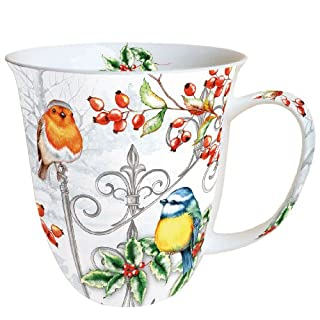 Becher Vögel Weihnachten Birds & Holly Becher 0,4 l Fine Bone China