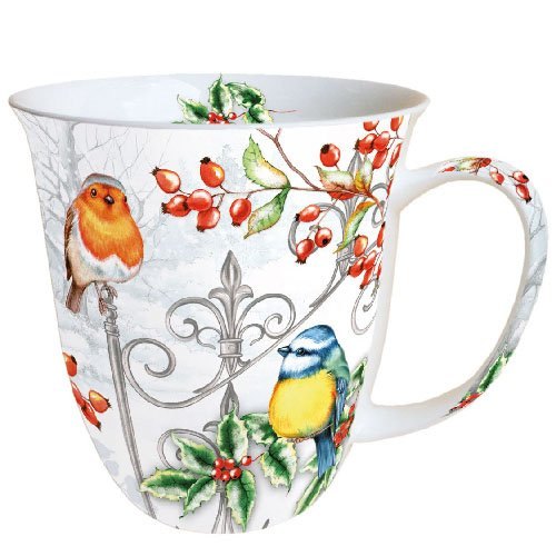 Ambiente Becher - Mug - Tasse Tee/Kaffee Becher - Birds & Holly - Winter - Vögel & Stechpalme - Rotkehlchen - Weihnachten ca. 0.4L