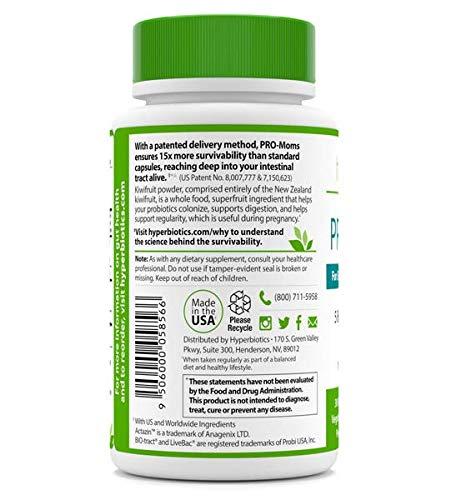 PRO-Moms: Prenatal Probiotika für Schwangere und Stillende – Empfohlene mit pränatale Vitamine – 8 Gezielte Stämme – Patentierte Liefer einmal täglich Tablette – 15x effektiver