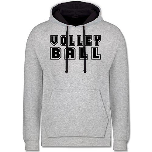 Volleyball - Volleyball Schriftzug - Kontrast Hoodie Grau meliert/Dunkelblau