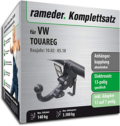 Rameder Komplettsatz, Anhängerkupplung abnehmbar + 13pol Elektrik für VW Touareg (149183-04920-1)