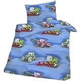 Juego de sábanas de franela tractor de Baby-juego de cama de 100 x 135 cm - colour azul