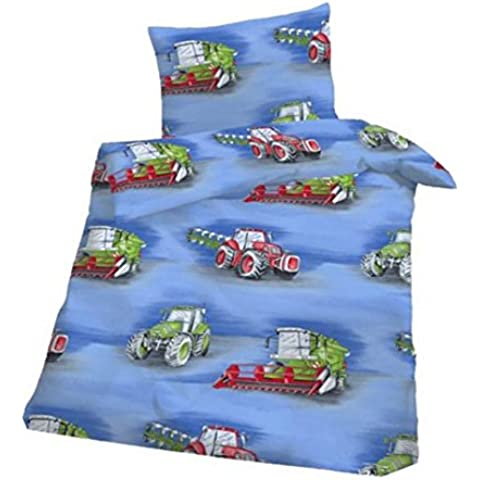 Suave franela ropa de cama tractor bebé ropa de cama 100x 135cm), color azul