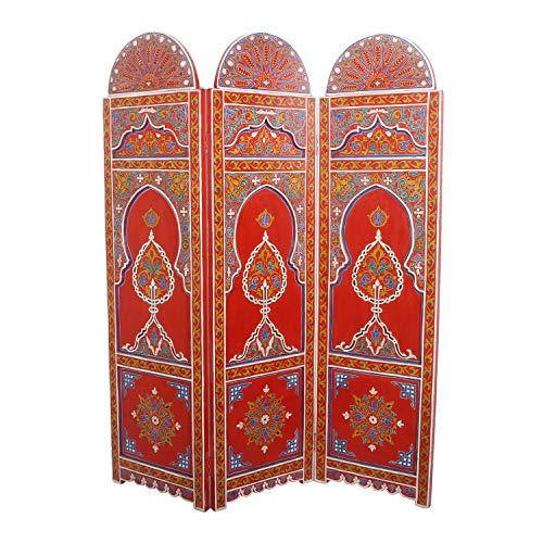 Casa Moro Orientalischer Paravent Raumteiler Zada aus Holz 145 cm breit x 176 cm hoch bunt | Marokkanische Trennwand als Raumtrenner & schöne Dekoration | Kunsthandwerk aus Marokko | MO2102