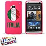 Originale Schutzschale von MUZZANO : Rosa, ultradünn und flexibel, mit Fußball Italia-Muster für HTC ONE / M7