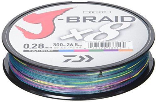 Daiwa J- Braid X8, Multicolor, 0.28mm, 26.5kg / 58.0lbs, 300m, Rund Geflochtene Angelschnur, 12755-128