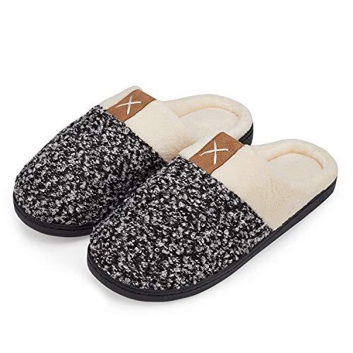 Frauen Hausschuhe Weiche Memory Foam Plüsch Damen Haus Schuhe Warme Winter Hausschuhe Anti-Slip Leichtes Schwarz Weiß 38/39