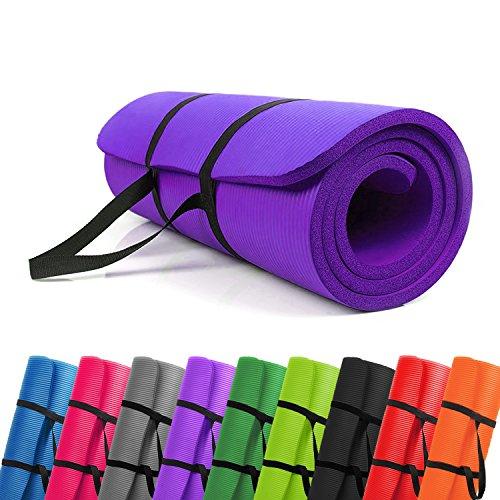 PROMIC Trainingsmatte, Yogamatte, 183 cm x 61 cm x 1,5 cm Pilates Matte, für Yoga, Pilates und andere Trainings zu Hause und Studio, rutschfeste Gymnastikmatte mit Tragegürtel, Lila -