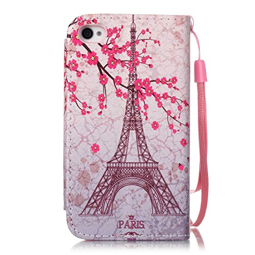 iPhone 4S Hülle,iPhone 4 Hülle,iPhone 4S 4 Lederhülle,iPhone 4S 4 Handyhülle,ikasus® Groß Magnetic Buckle Handyhülle iPhone 4S / iPhone 4 Ledercase Tasche Hüllen Brieftasche Bunte Gemalt Malerei Muste Pflaume Blumen Eiffelturm